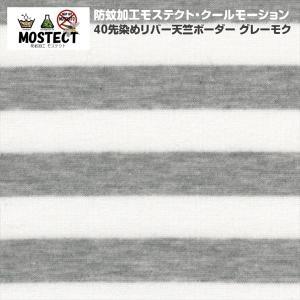 防蚊モステクト・クールモーション 40先染めリバー天竺ボーダー グレーモク ひんやり接触冷感 ニット生地|knit-yamanokko