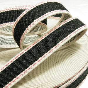 デニム調ゴム(平ゴム)25mm巾 ブラック|knit-yamanokko