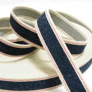 デニム調ゴム(平ゴム)25mm巾 ネイビー|knit-yamanokko