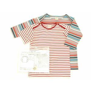 型紙 子供 クロスショルダーTシャツ ニット生地向けカット済みパターン|knit-yamanokko
