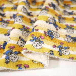 「入稿フルオーダープリント」珊瑚フリース (1mカット全面プリント)  ニット生地 アイボリーベース|knit-yamanokko