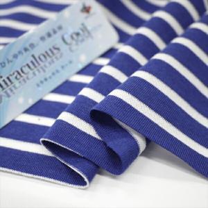 ニット生地 冷感 消臭 ミラキュラス・クール40天竺ボーダー ロイヤルブルー×ホワイト 「犬服、クールインナー向け」 knit-yamanokko