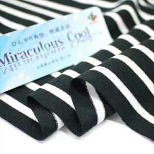 ニット生地 冷感 消臭 ミラキュラス・クール40天竺ボーダー ブラック×ホワイト 「犬服、クールインナー向け」|knit-yamanokko