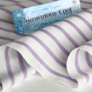ニット生地 冷感 消臭 ミラキュラス・クール40天竺ボーダー オフ×フェアーオーキッド 「犬服、クールインナー向け」|knit-yamanokko