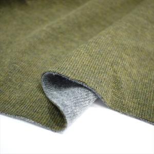ニット生地 遠赤発熱ダイナホット 16s紡毛リバーシブルニット カーキ&グレー 遠赤外線を放射|knit-yamanokko