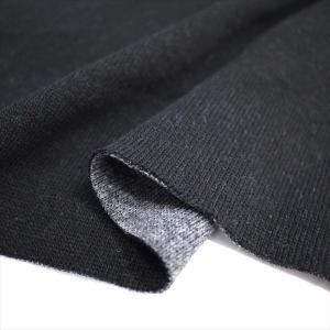 ニット生地 遠赤発熱ダイナホット 16s紡毛リバーシブルニット ブラック&チャコール 遠赤外線を放射|knit-yamanokko