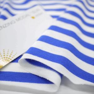 ニット生地 UV加工 綿モダール30天竺ボーダー ブルー×オフ「UVケア、トップス、インナー向け」 knit-yamanokko
