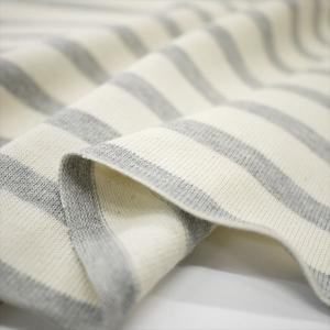 ニット生地 16単糸引き揃えバスクボーダー天竺 キナリ×グレー杢 厚手天竺 knit-yamanokko