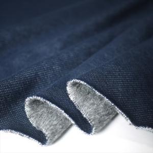 ニット生地 デニムムートンジャージー ネイビー 暖かいストレッチ ニット knit-yamanokko
