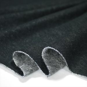 ニット生地 デニムムートンジャージー ブラック 暖かいストレッチ ニット|knit-yamanokko