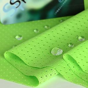 ニット生地 撥水スプラッシュメッシュ ライムグリーン 「雨上がり用犬服、グッズ類向け」|knit-yamanokko
