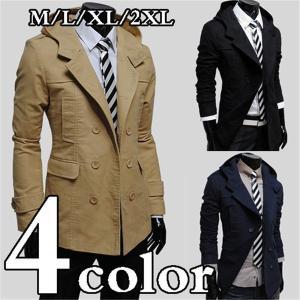トレンチコート メンズ メルトン ウール ロング コート トレンチコート チェスターコート|knit