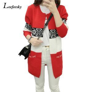 女性春/秋のセーター2018ロングカーディガン韓国スリムポケット長袖ルーズニットセーター生き抜くコートジャケットトップス|knit