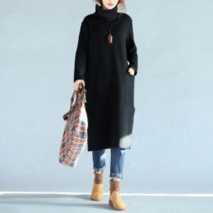 2018 女性ハイネックポケットフード付きスウェットシャツドレス冬暖かい女性長袖カジュアル緩いプルオーバートップス knit