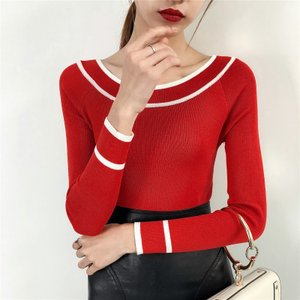 新しい2018春ファッション女性セーターネック弾性固体セーター女性スリムセクシーなタイト底入れニットコットンプルオーバー|knit