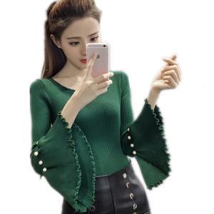 2018ビーズ秋冬女性のセータースーパー弾性固体ファッションセーター女性スリムセクシーな底入れニットプルオーバー088|knit