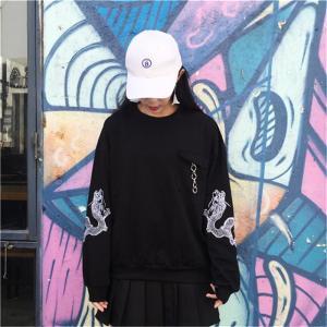 女性の秋春のファッション韓国新しいスタイルオルドラゴン緩いパーカー快適な任意の組み合わせ黒パーカー knit