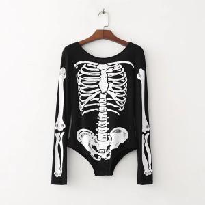 2018女性のファッション骨パターン印刷コントラスト色黒スキニーボディスーツシャツ弾性ブラウス遊び着カジュアルスリムトップス2068 knit