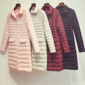 秋冬女性超軽量ダウンジャケット軽量白いアヒルダウンパーカー暖かいスリム薄いロングコート女性アウター547|knit