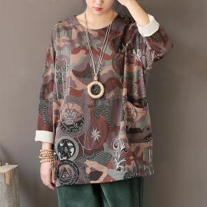 女性プルオーバースウェットシャツネックヴィンテージプリント花トップ暖かい2018秋新しい長袖ニット綿パーカー knit
