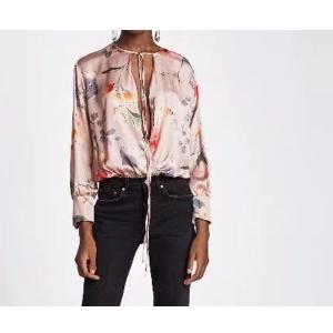 2018新ヴィンテージ女性セクシーな深いネック花印刷痩身ボディスーツシャツ長袖ブラウス遊び着カジュアルトップス1966 knit