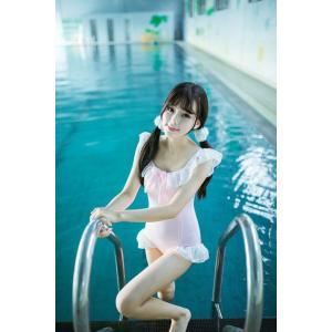 日本ソフト女の子甘いスタイルホワイトフリルカワイイピンクのボディースーツでちょう結びセクシーなノースリーブボディコンビーチ水着女性 knit
