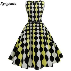 プラスサイズ50  60 ローブヴィンテージドレスレトロピンアップスイングポルカロカビリープリントドレス2018新しい到着女性夏ドレス|knit