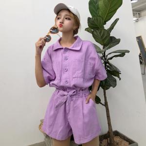 女性のクラシックデニムボタンダウン半袖紫ジャンプスーツ夏の女性レースアップ弓オーバーオール韓国かわいいカジュアルロンパース|knit