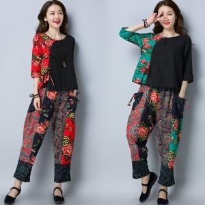 2018新しい女性中国民俗スタイル摩耗花プリントコットンラインツーピーススーツ伝統服用女性|knit