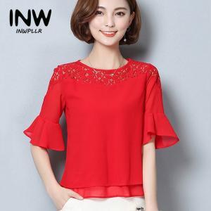 2018夏シフォンブラウス女性ファッション半袖パッチワークシャツ白いレーストップスファムプラスサイズ|knit