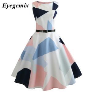 夏のドレス女性エレガントなオフィスドレスフローラルプリントレトロビンテージ50  60 ローブロカビリースイングピンナップパーティードレス|knit