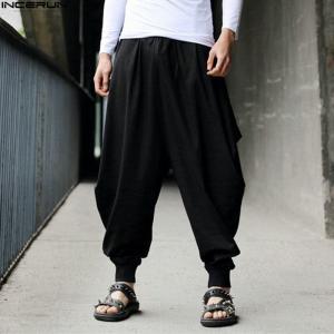 メンズハーレムバギーパンツ男性袴リネンカジュアルワイドレッグメンズパンツ日本のズボン男性のクロスパンツ股パンツ5|knit
