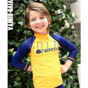 キッズ・ジュニア 男の子 女の子 水着 スイムウェア セパレート 長袖 ショットパンツ スイミング 2点セット|knit