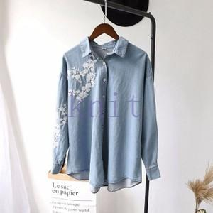シャツ レディース 新品 春秋 上着 可愛い 刺繍 折襟 可愛い 長袖GNZ-152|knit