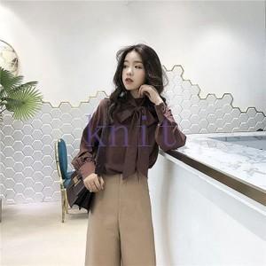 シャツ レディース 新品 春秋 上着 可愛い 無地 リボン飾り 痩せGNZ-156|knit
