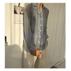 シャツ レディース 新品 春秋 上着 可愛い ストライプ 痩せGNZ-228|knit