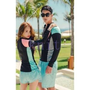 水着 レディース メンズ スイムウェア 2点セット フィットネス水着 体型カバー UVカット ラッシュガード 紫外線対策 日焼け防止 水泳JZAH2-AL146 knit