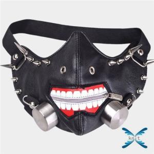 マスク メンズマスク ファッション PUレザー パンク ロック オシャレ リベット|knit