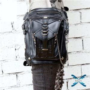 ウエストポーチ レディース メンズ レザー おしゃれ 2way レッグポーチ レッグバッグ カバン 鞄 bag ショルダーバッグ ヒップバッグ|knit