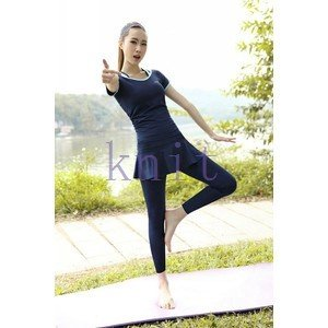 トレーニングウェア ヨガウェア スポーツウェア レディース フィットネス 三点セット 動きやすい ダンス ランニング 着痩せ レギンスYUD-AL08|knit