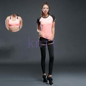 トレーニングウェア ヨガウェア スポーツウェア レディース フィットネス 三点セット 動きやすい ダンス ランニング 着痩せ レギンス リボンYUD-AL10|knit