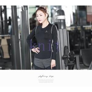 ヨガウェア Tシャツ レディース トップス スポーツ フィットネス ダンス 動きやすい トレーニング 吸汗速乾 超軽量 タイト 着痩せYUD-AL222|knit