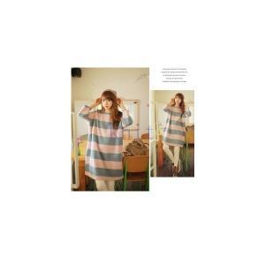 マタニティ ワンピース 春秋 新作 授乳服 授乳口付 大きいサイズ 産前 産後 妊婦服 ゆったり ストライプGYFC-AL200|knit