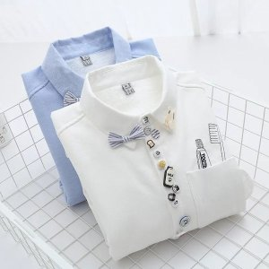 2019新しい女性ベルベット厚い暖かい刺繍シャツ女性フルトップス冬ロング市松ブラウスシュミーズファム