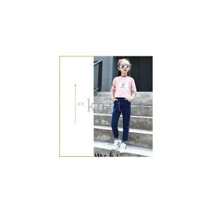 デニムパンツキッズジュニア女の子子供服長ズボンボトムスおしゃれ春秋新作GETC-AL318|knit
