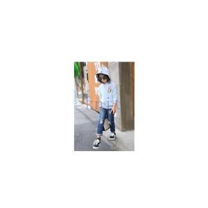 ダメージデニムパンツキッズジュニア女の子子供服春秋春新作長ズボンボトムスおしゃれ笑顔柄GETC-AL316|knit