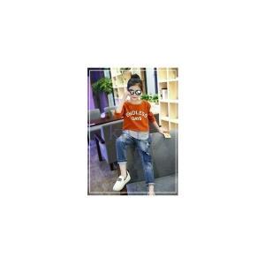 パンツキッズジュニア子供服女の子春秋ジーパンジーンズデニム長ズボン春新作ボトムスおしゃれダメージGETC-AL275|knit