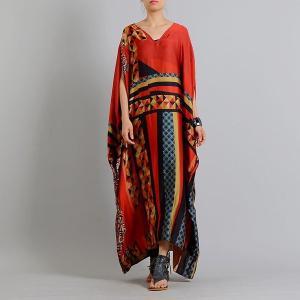 プラスサイズ女性サマードレスローブ2019新しいバットスリーブネックプリント花緩い女性の服パッチワー...