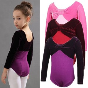 幼児の女の子バレエドレスロングスリーブアスレチックダンスレオタードドレスバレエ体操用子供ダンス着用衣装ボディスーツ|knit