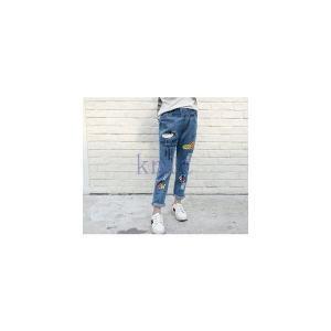 デニムパンツキッズジュニア女の子子供服春秋春新作長ズボンボトムスゆとり韓国風GETC-AL319|knit